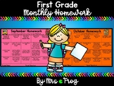 First Grade Monthly Homework Choice Board