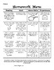 First Grade Monthly Homework Menu - Math Reading Motor Skills Experiences