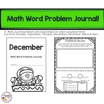 First Grade Monthly Math Journals - Spiraled Word Problem Practice