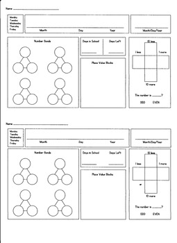 First Grade Morning Math-Editable