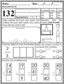 First Grade Morning Math (3rd Qtr) January, February, March