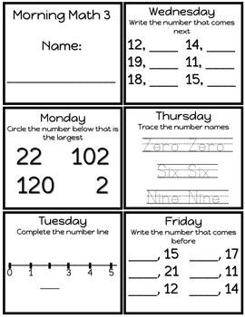 First Grade Morning Math Worksheets TEKS aligned