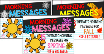 First Grade Morning Message Bundle {Fall, Winter, & Spring Themes}