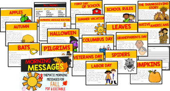 First Grade Morning Messages {18 Fall Themes- PDF & EDITABLE!}