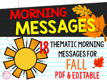 First Grade Morning Message Center {17 Fall Themes}