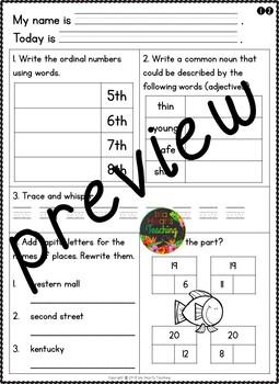 Month #10 Morning Work: First Grade Morning Work Packet