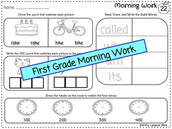 First Grade Morning Work: Back to School