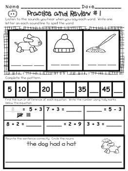 First Grade Morning Work - Daily Math and Language based on the Common Core