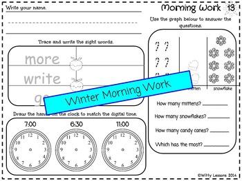 First Grade Morning Work: December and Winter