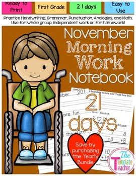 First Grade Morning Work - Do Now - November