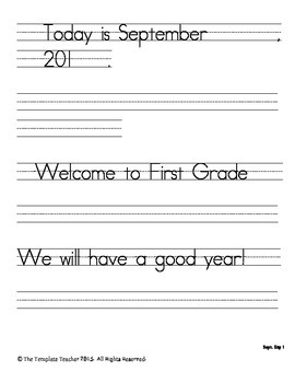First Grade Morning Work-Do Now - September