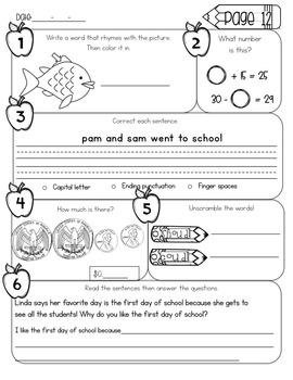 First Grade Morning Work - June