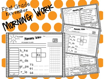 First Grade Morning Work- November
