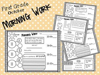 First Grade Morning Work- October