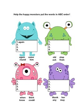 First Grade Morning Work Printables-Fun Monster Theme-Covers 4 CCSS