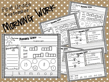 First Grade Morning Work- September