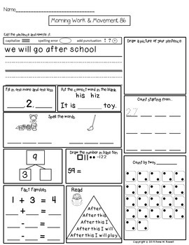 First Grade Morning Work - Spiral Review or Homework - Set 2