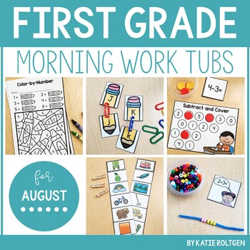 First Grade Morning Work Tubs for August