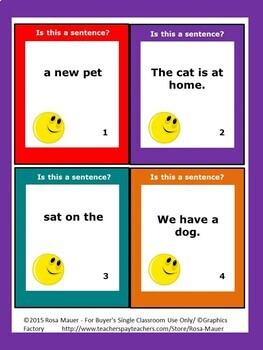 Sentences Task Cards and Worksheets