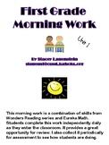 Wonders/Eureka Unit 1--First Grade Morning Work