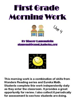 First Grade Morning Work-Wonders/Eureka Unit 4