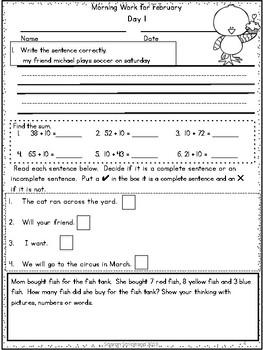 First Grade Morning Work for February