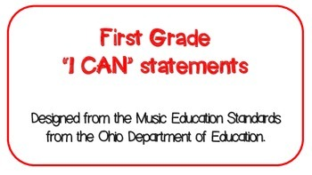 "First Grade Music ""I CAN"" Statements"