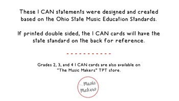"""First Grade Music """"I CAN"""" Statements"""