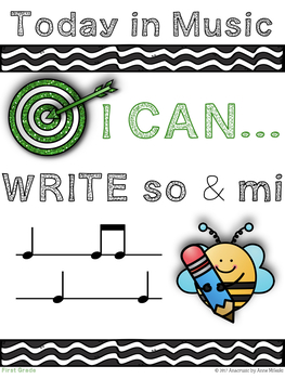 First Grade Music Learning Targets - I Can Statements for the Year!!