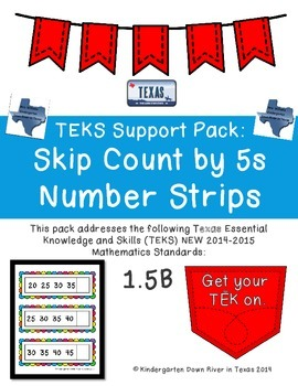 First Grade NEW Math TEKS 1.5B: Skip Counting by 5s Number Strips