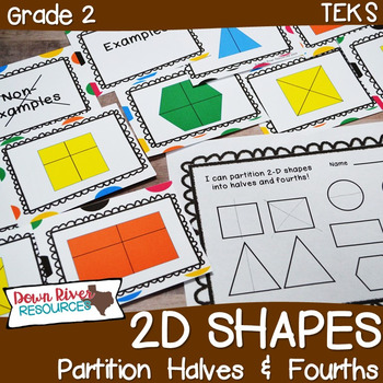 First Grade NEW Math TEKS 1.GH: Partitioning 2D Shapes into Halves & Fourths