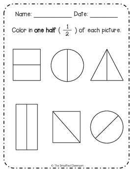 First Grade NO PREP Fractions Pack (Color-in, Matching, Sorting, and More!)