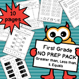First Grade NO PREP Math Symbols (Greater Than, Less Than) Pack