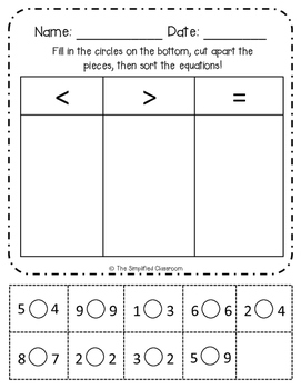 First Grade NO PREP Math Symbols (Greater Than, Less Than) Pack