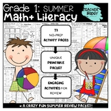 First Grade NO PREP Summer Math and Literacy Review Packet -