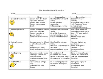 First Grade Narrative Rubric