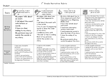 First Grade Narrative Story Child Friendly Rubric