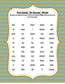 First Grade No Excuse Words