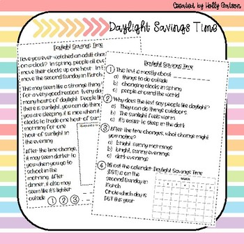 Daylight Savings Time Nonfiction Comprehension Passage