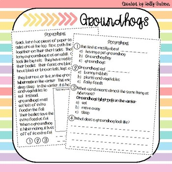 First Grade Nonfiction Comprehension Passage - Groundhogs