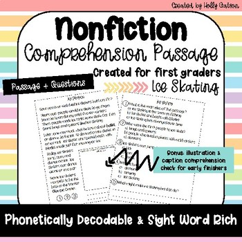 First Grade Nonfiction Comprehension Passage - Ice Skating