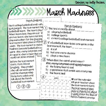 March Madness Nonfiction Comprehension Passage