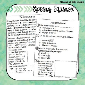 First Grade Nonfiction Comprehension Passage - Spring Bundle