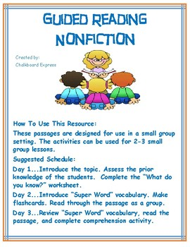 First Grade Nonfiction Guided Reading Packet