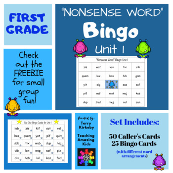 "First Grade Unit 1 ""Nonsense Word"" Bingo (Journeys)"