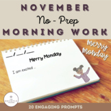 First Grade November No-Prep Morning Work