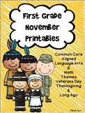 First Grade November Printables