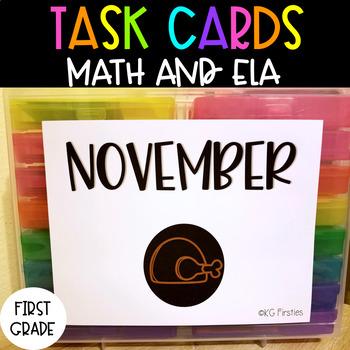 First Grade November Task Cards