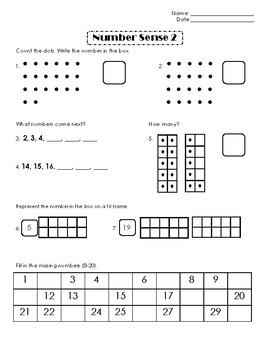 First Grade Number Sense Week 2
