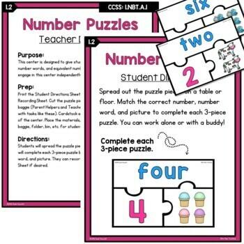 First Grade Number Sense Centers